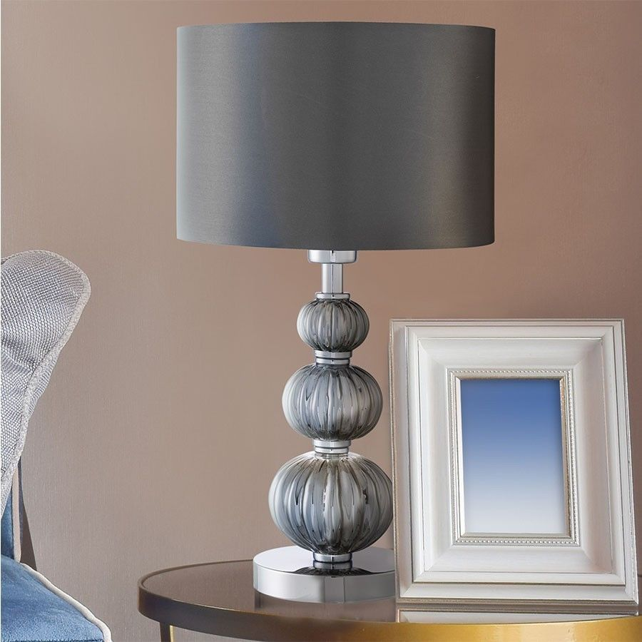 Contemporary hallway ideas  Brown Table Lamp Contemporary Chrome Glass Modern Decor Bedroom