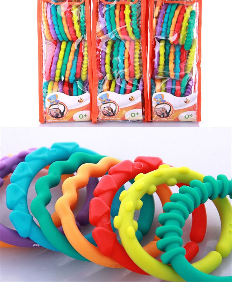Baby Kids Rainbow Teether Ring Links Plastic Infant Stroller Gym Play Mat Toys