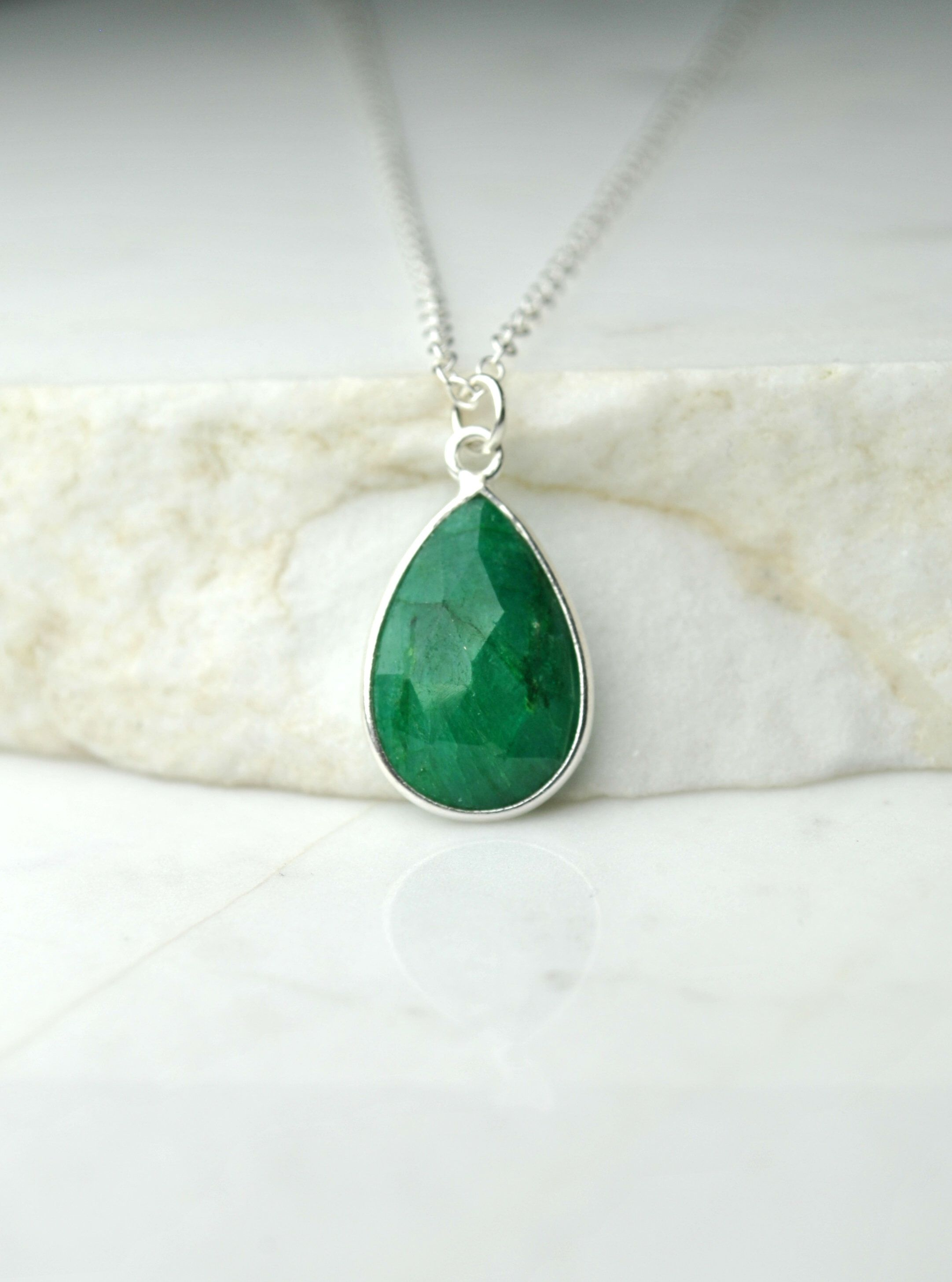new UK seller. solid Sterling Silver green Jade pendant rectangular