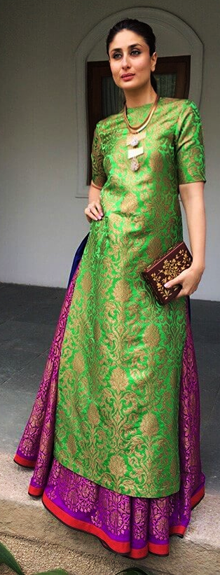 Kareena Kapoor Khan in a designer brocade kurta and ...