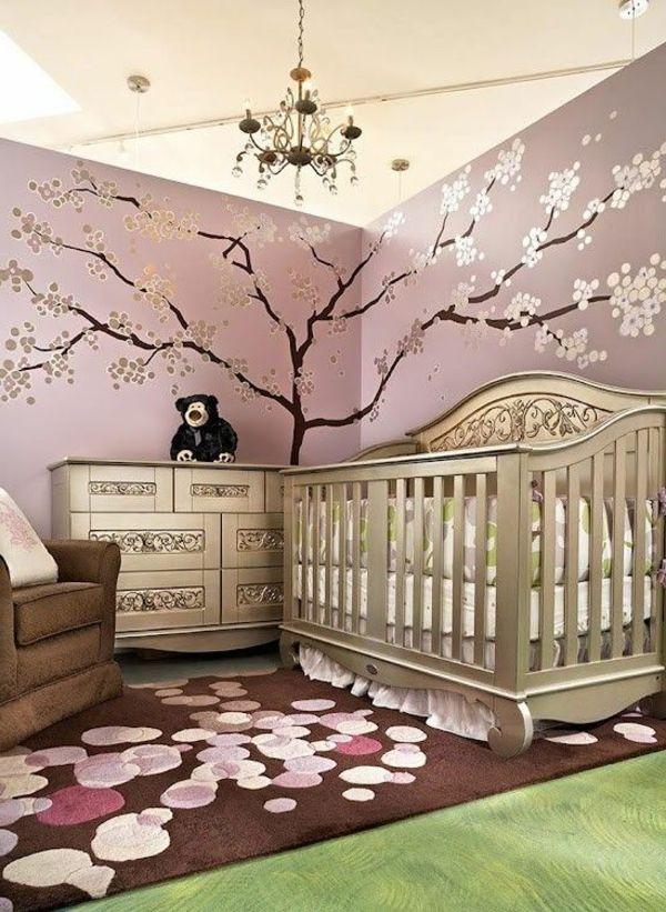 wandgestaltung babyzimmer baum zweige elegante einrichtung - wandgestaltung babyzimmer
