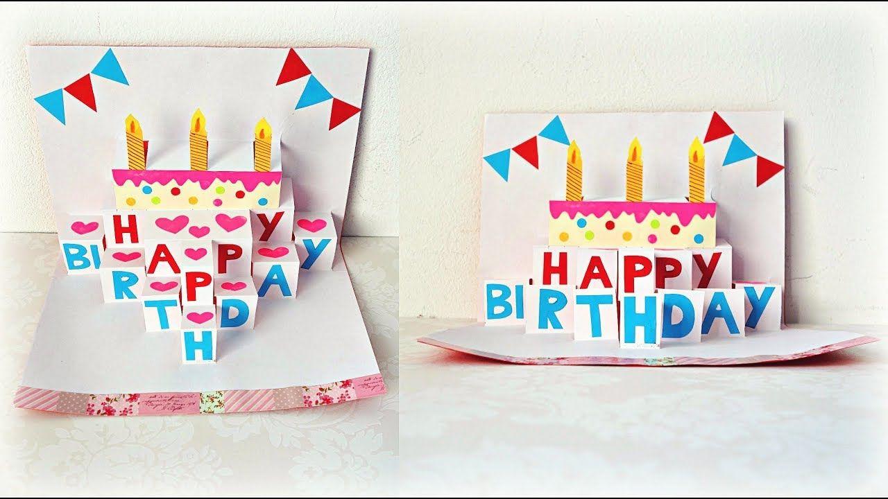 Handmade Birthday Greeting Card Diy Birthday Pop Up Card Maison Zizou Greeting Cards Diy Birthday Greeting Cards Birthday Cake Greetings