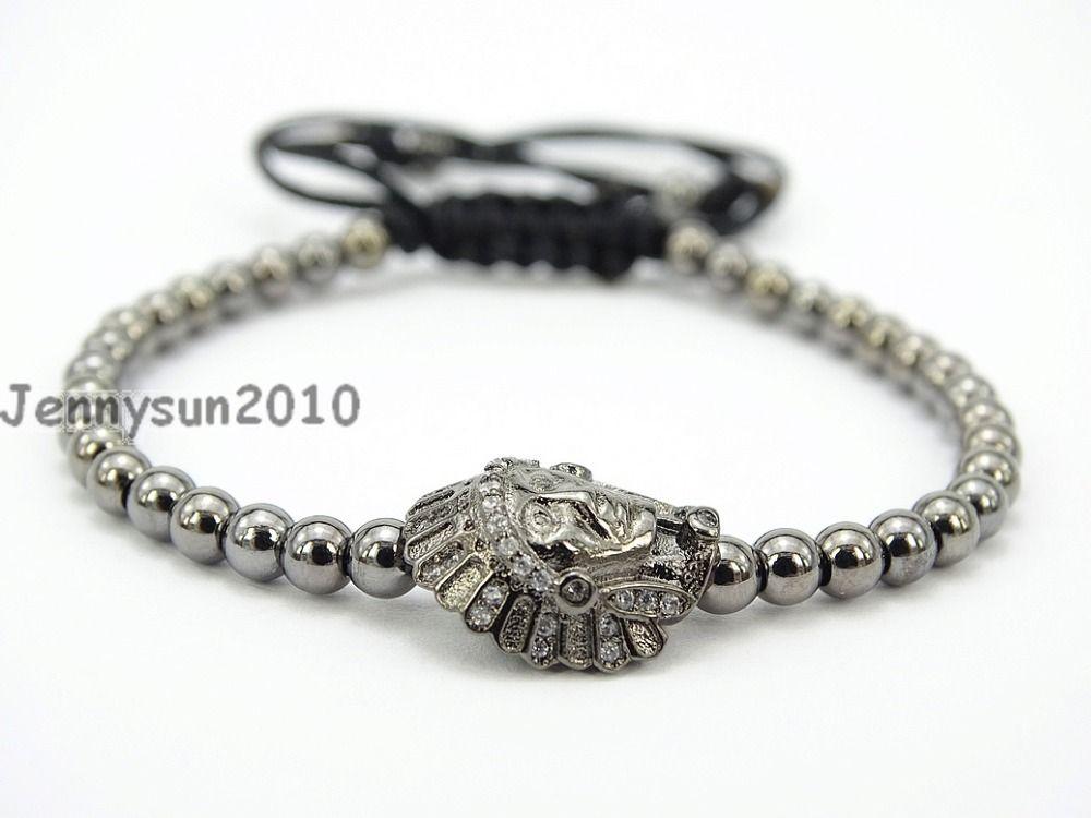 Indian Chief Head Clear Zircon Rhinestones Adjustable Macrame Yoga Handmade Bracelet Gunmetal Plated Unisex 5Strands / Pack