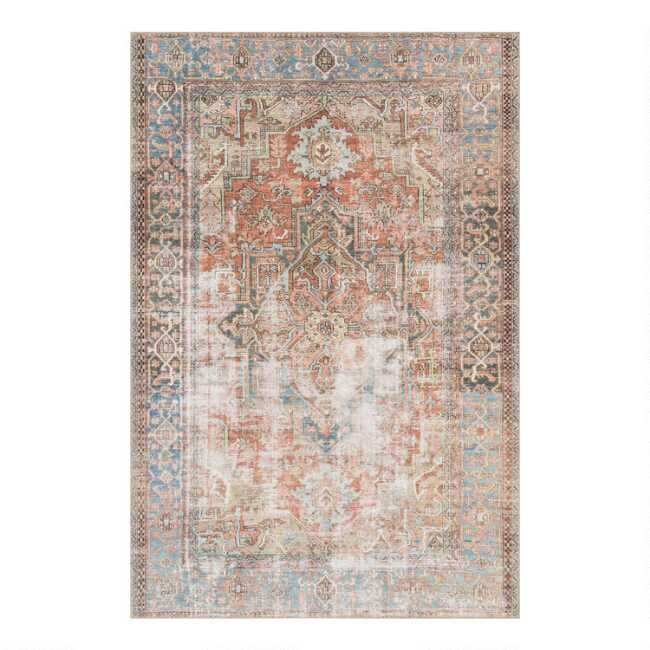 Terracotta And Blue Distressed Primus Area Rug World