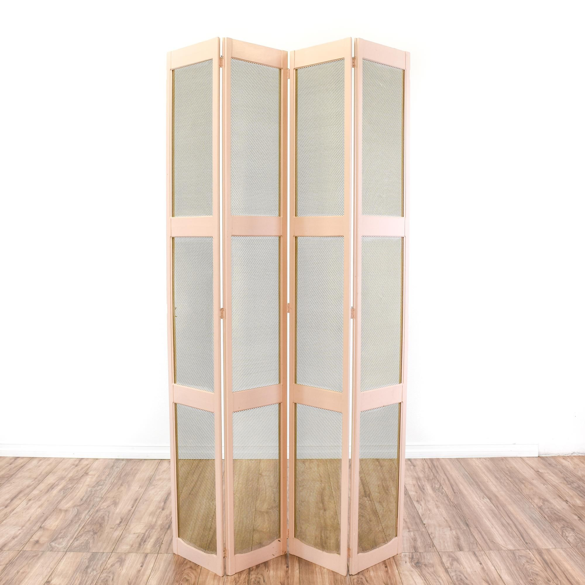 this cottage chic room divider is featured in a solid wood with a