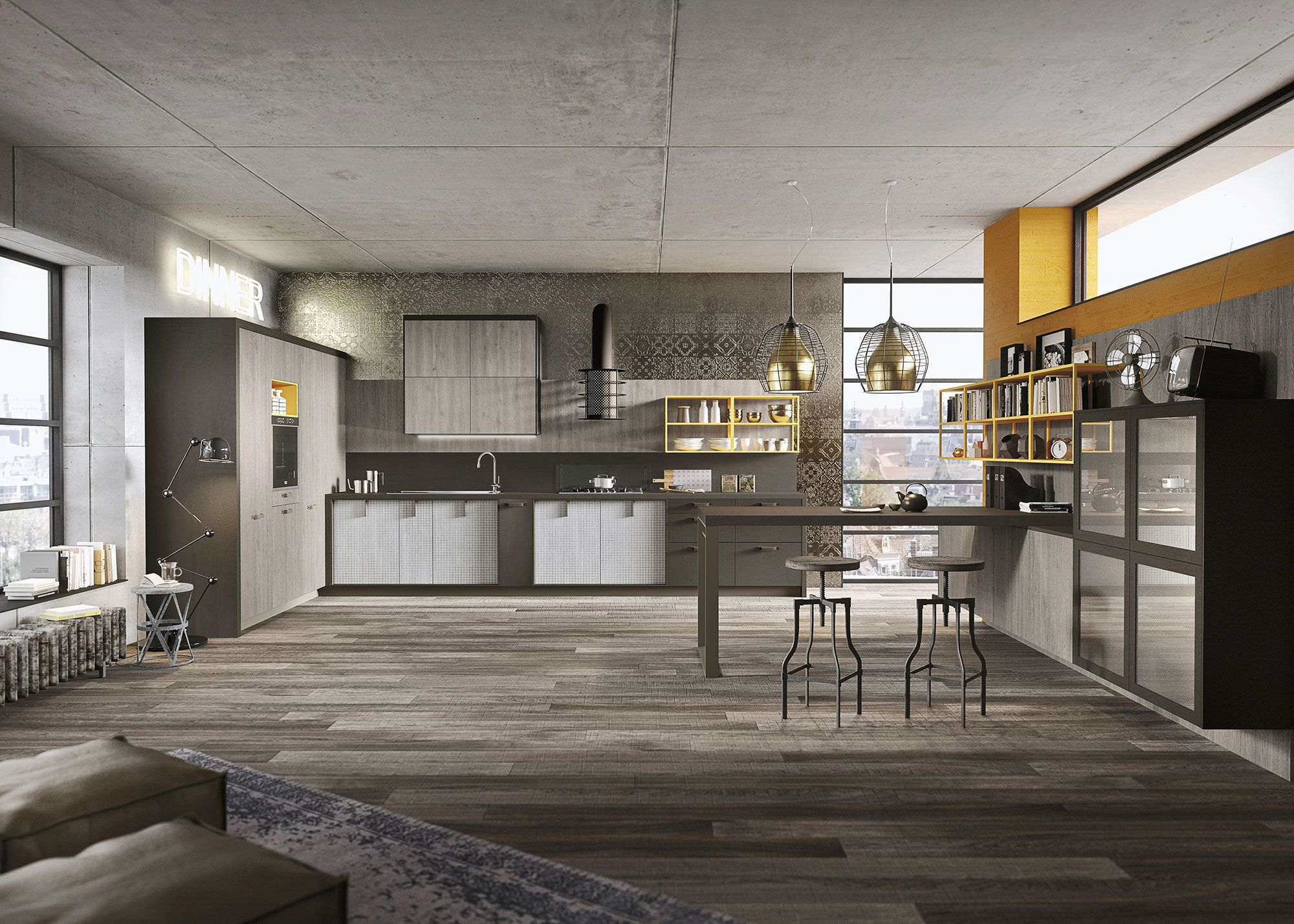 Kitchen Design For Lofts 3 Urban Ideas From Snaidero Industrial Loft Design Loft Kitchen Loft Design