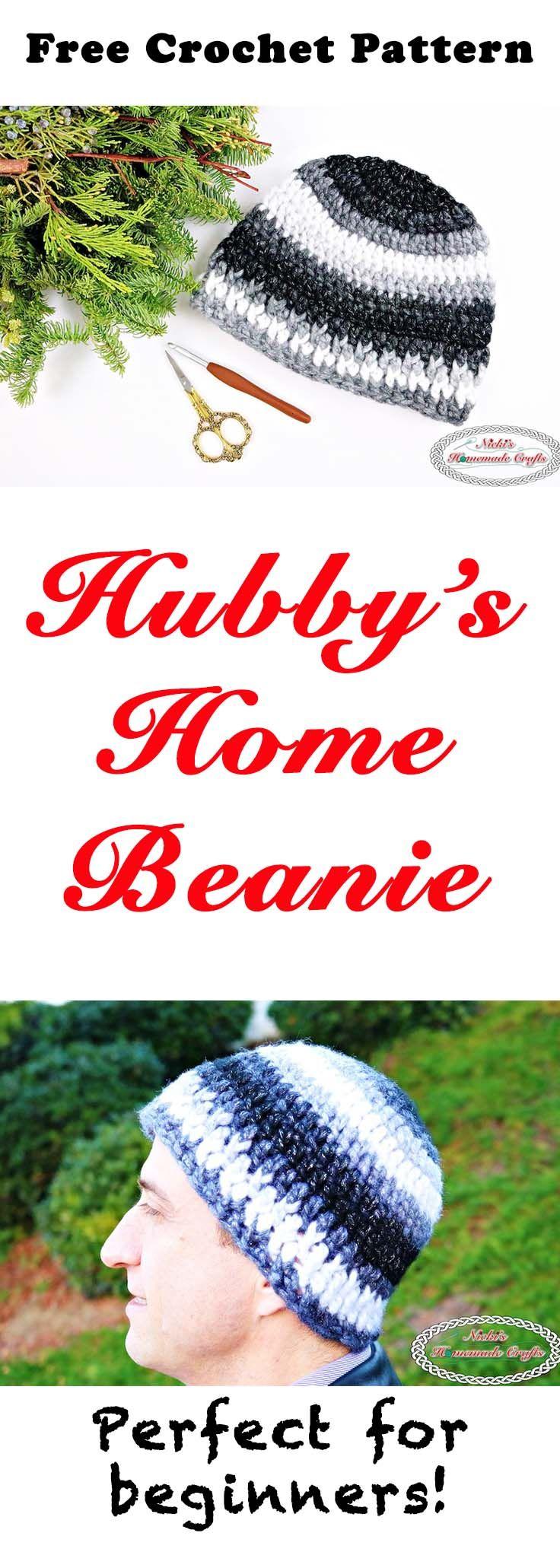 Hubby\'s Home Beanie - Free Crochet Pattern   Puntadas