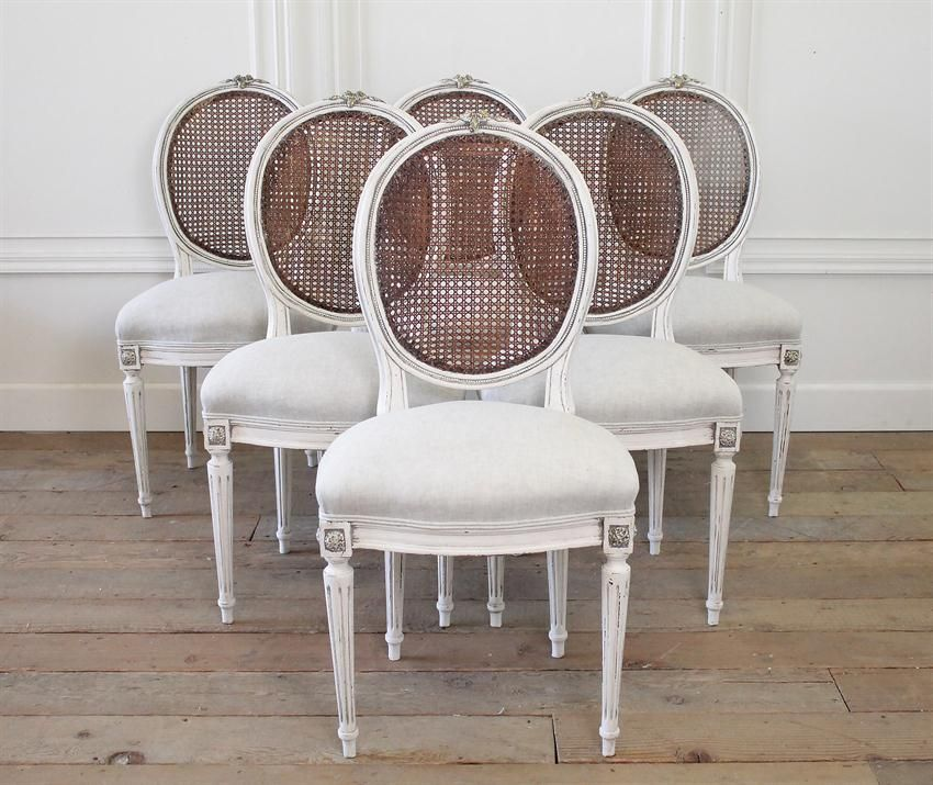 Set Of Six 19th Century French Louis XVI Cane Back Dining Chairs From Full Bloom Cottage