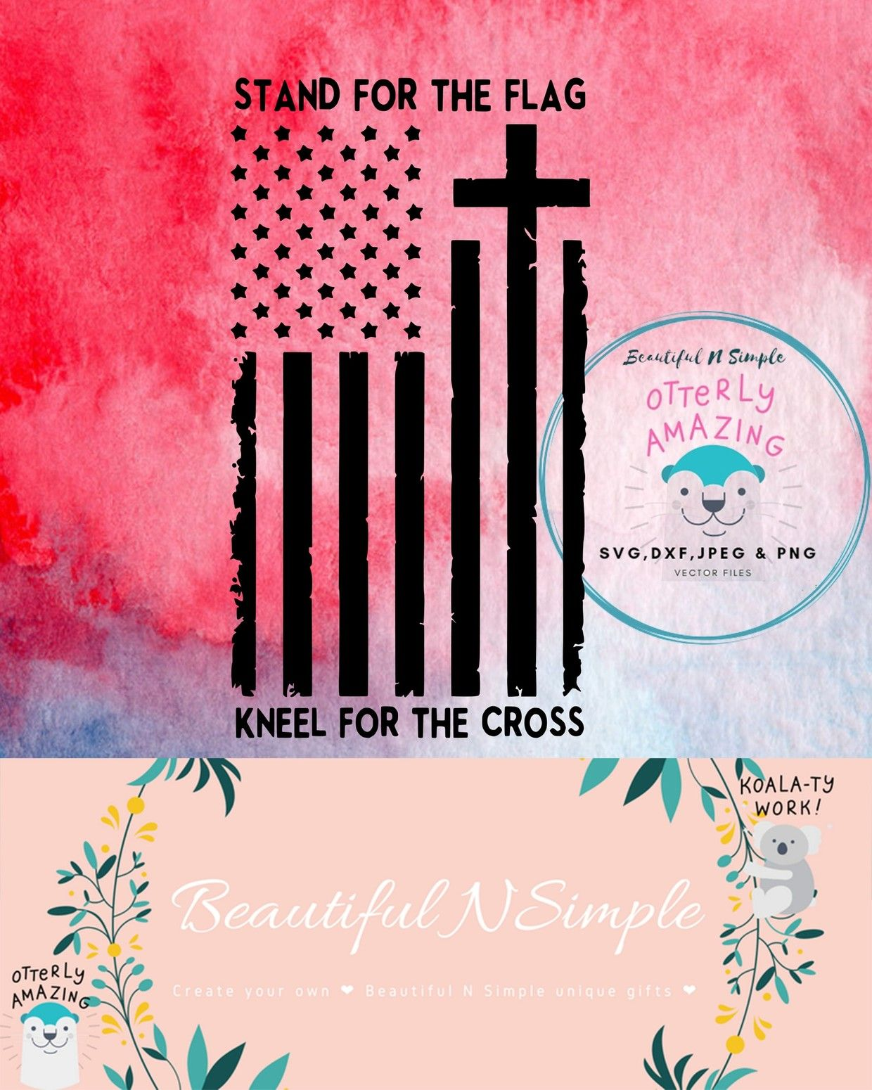 Stand for the Flag Kneel for the Cross American Flag SVG