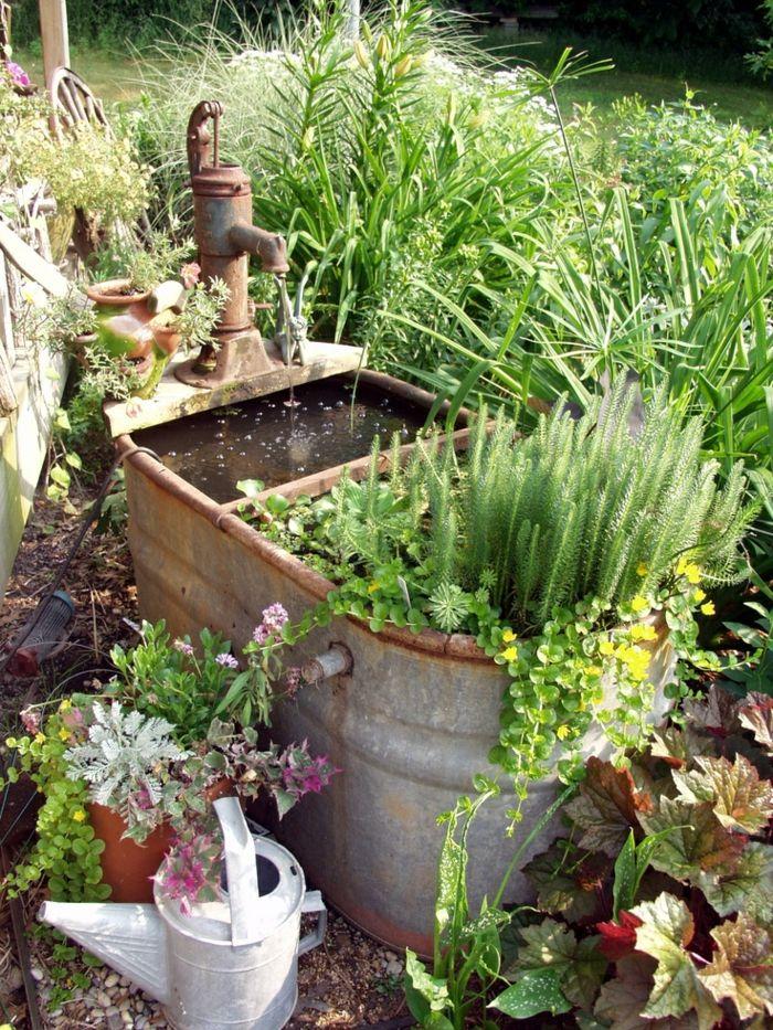 deko ideen selbermachen garten pflanzen alte gegenstände, Hause und garten