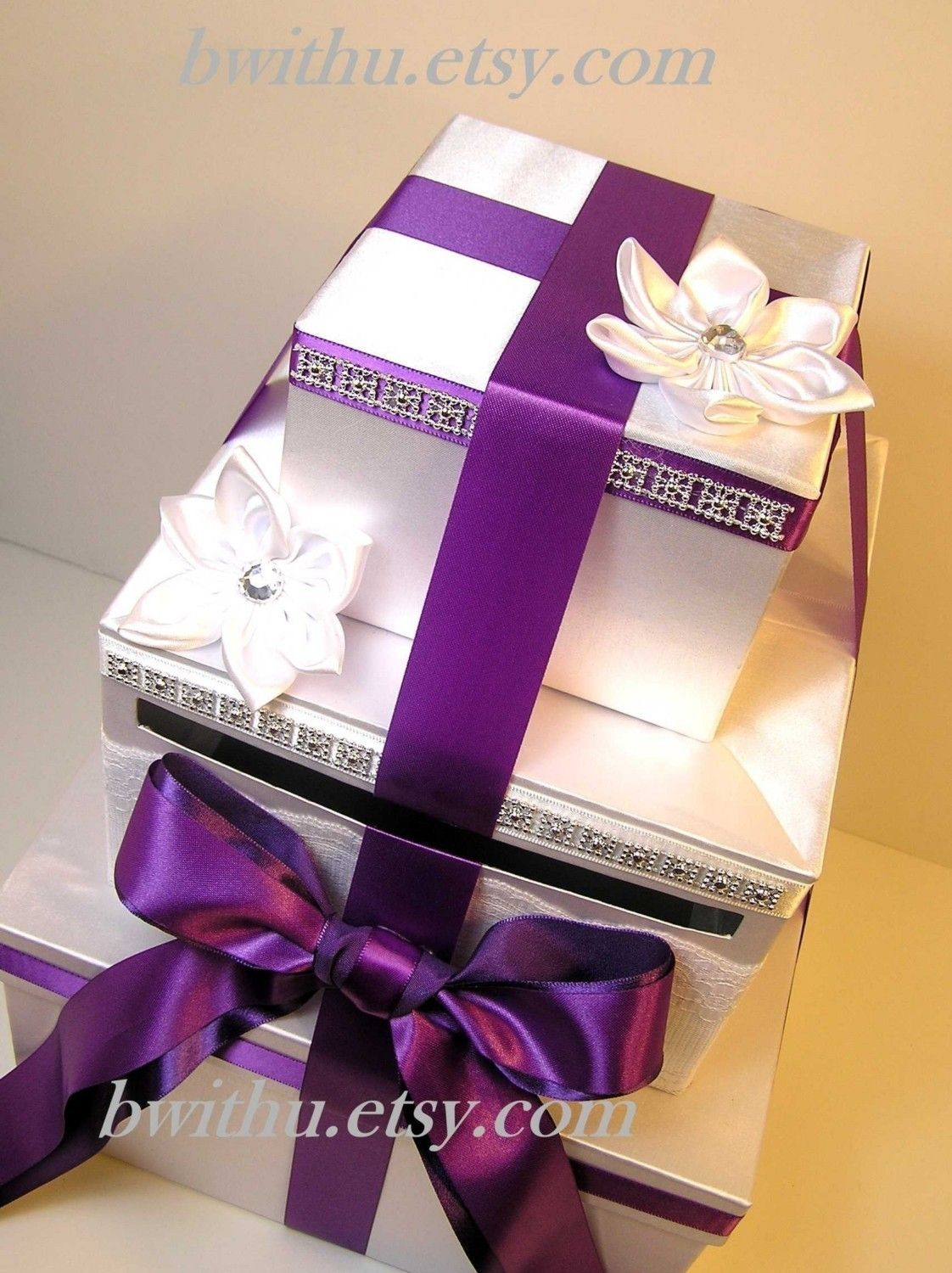 Silver And Purple Wedding Card Box Gift Card Box Money Box Holder