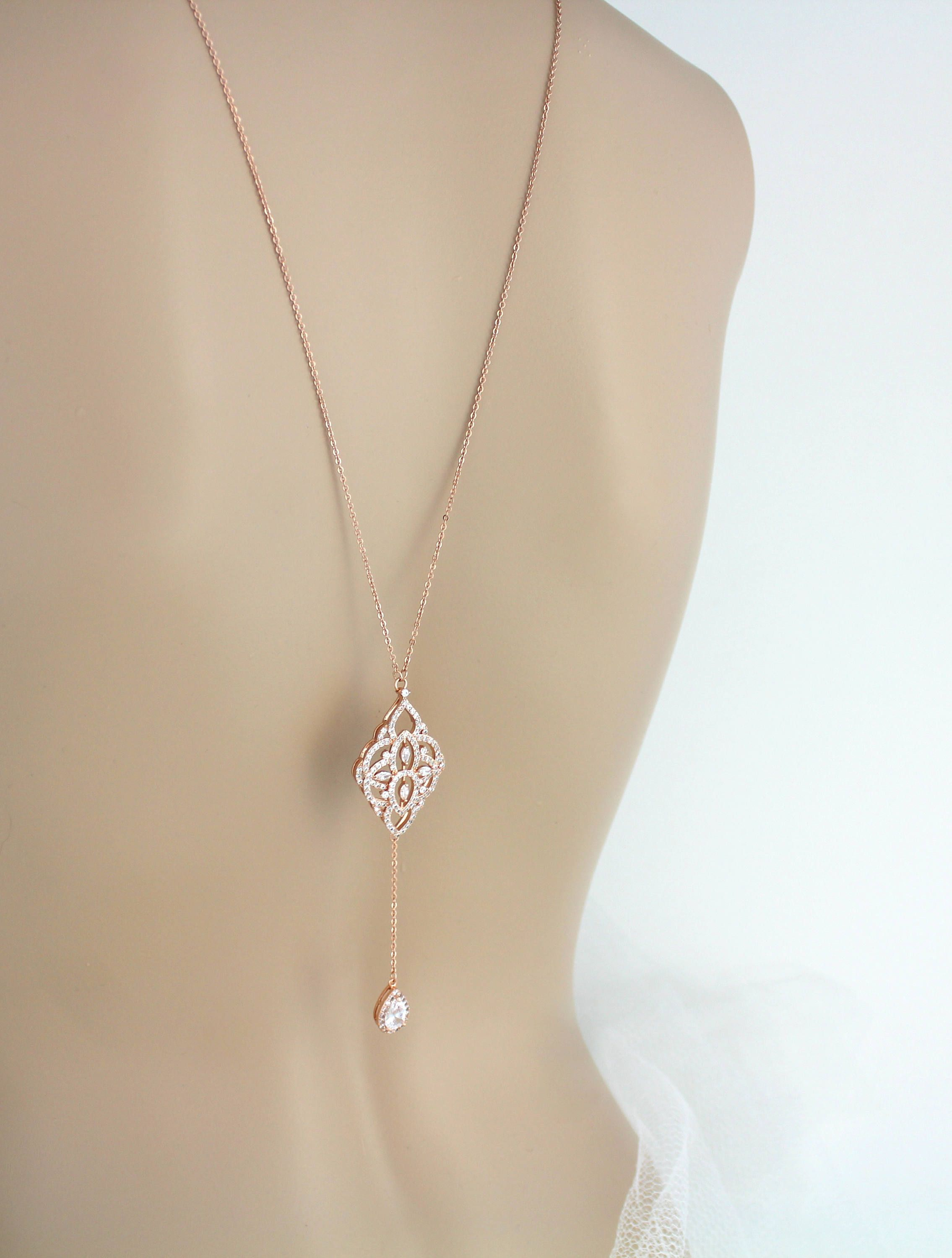 07297243fce9 Rose gold Back necklace Bridal necklace Bridal jewelry Rose gold ...