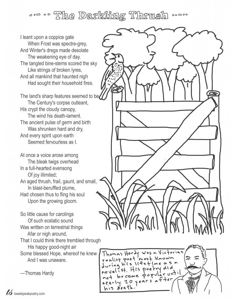 Coloring Page Poems The Darkling Thrush By Thomas Hardy The