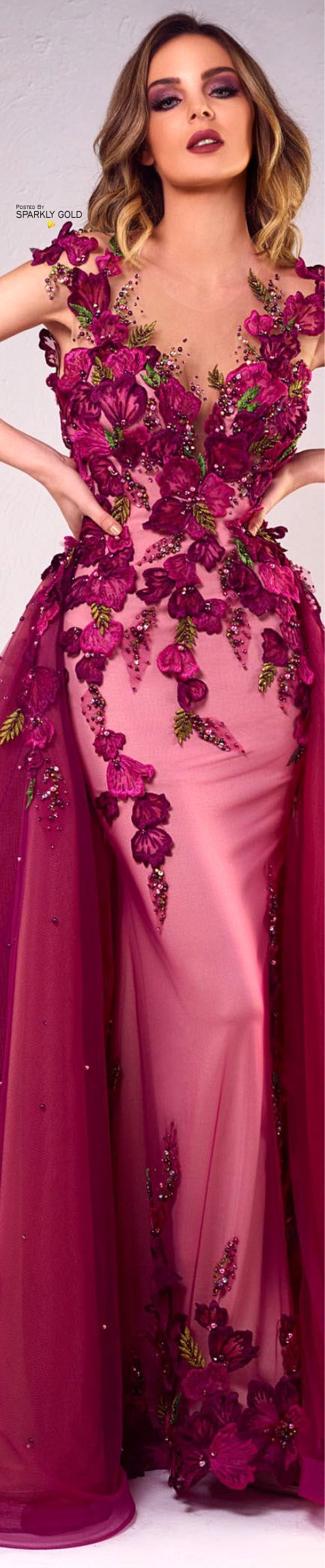 Tony Chaaya Spring 2018 Couture | Lovely Gowns! | Pinterest | Fucsia