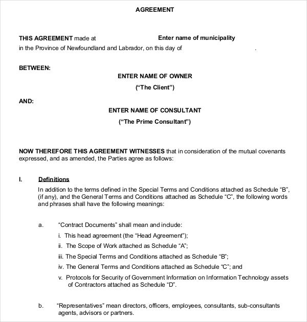business contract agreement between clinet pdf format download - contract agreement format