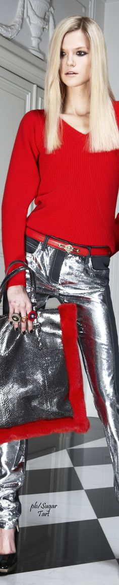 @roressclothes clothing ideas #women fashion red sweater, glossy trousers