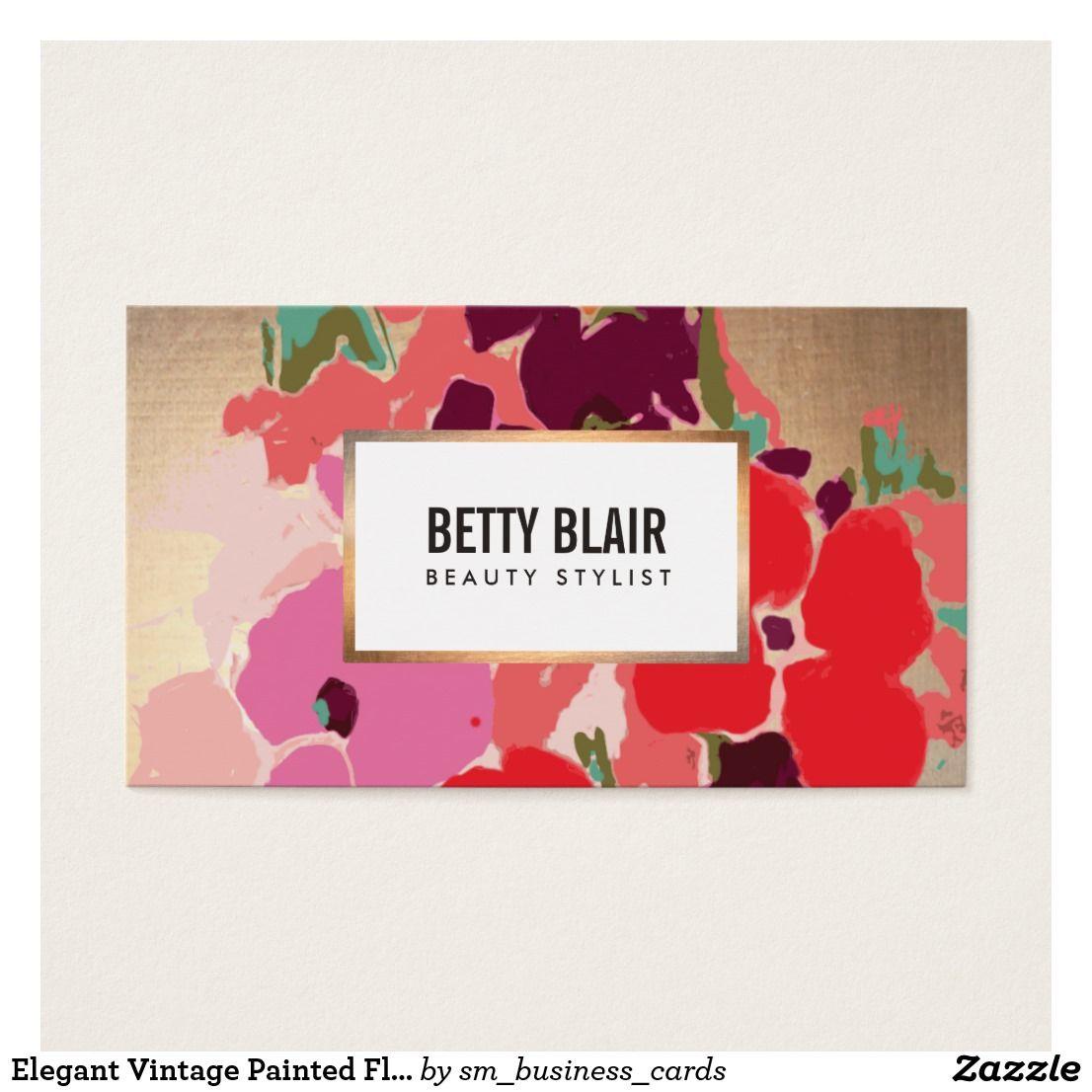 Elegant Vintage Painted Floral Art Designer Business Card Art