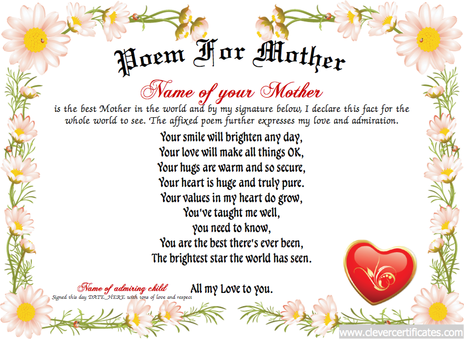 Poem For Mother Certificate Designer Free Certificate Templates