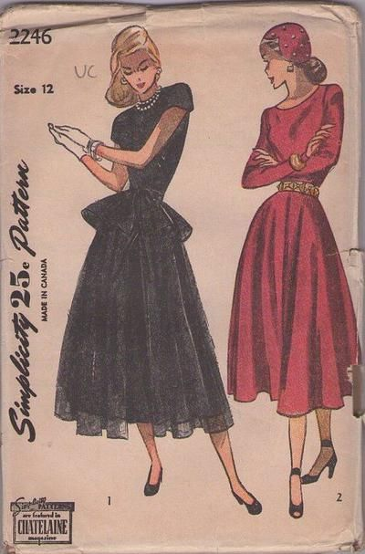 MOMSPatterns Vintage Sewing Patterns - Simplicity 2246 Vintage 40\'s ...