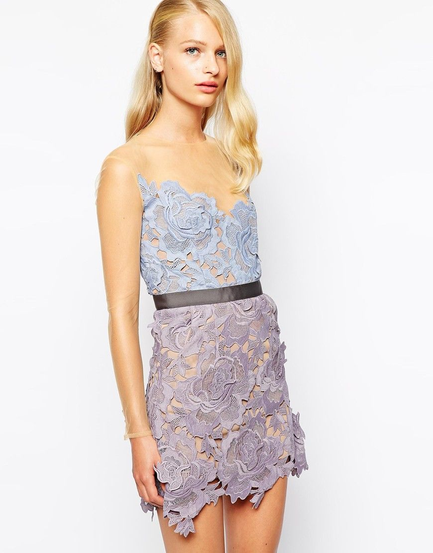 e70cd910e0 Self Portrait Harmony Lace Cutwork Dress With Mesh Sleeves ...