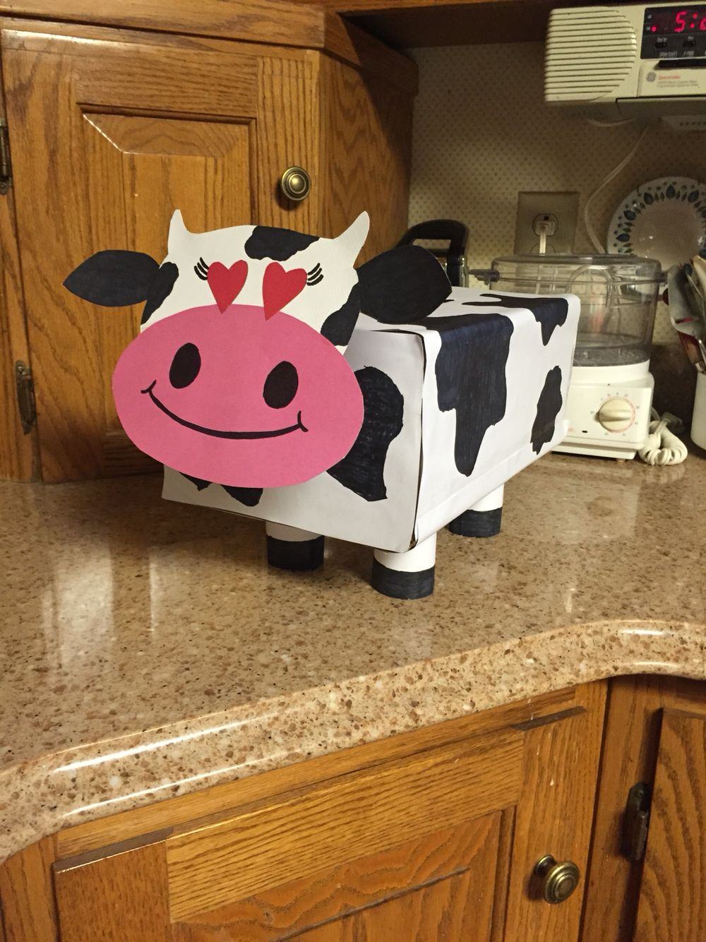 Cow Valentine's Day box for kids  Toilet paper rolls as legs