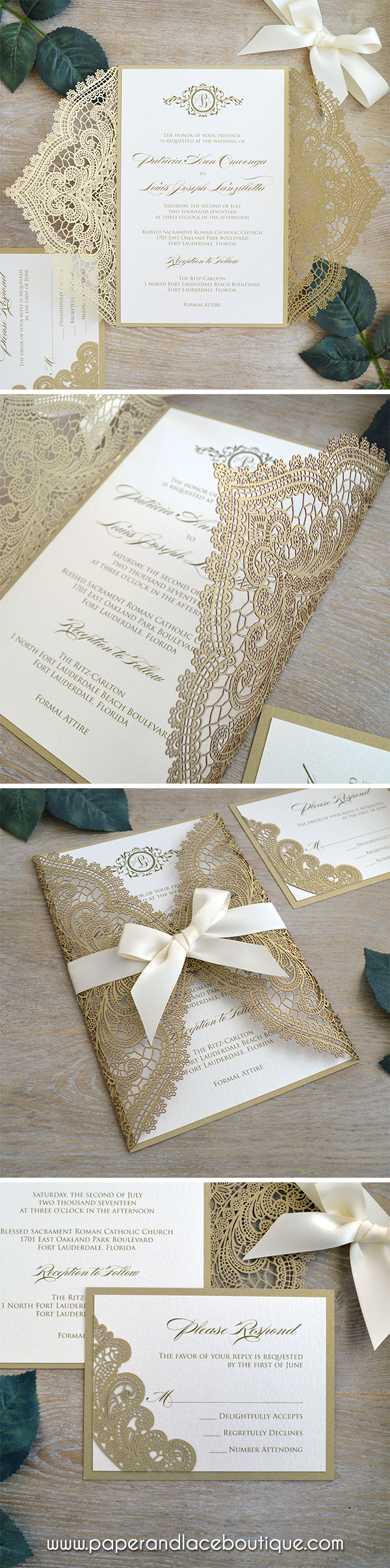 Chantilly Lace Laser Cut Wrap Invitation Gold Laser Cut Wedding