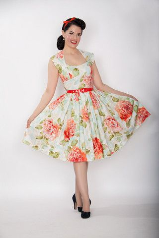 Rose Pin Up Dress in Sorbet Cabbage Rose Print | F A S H I O N ...