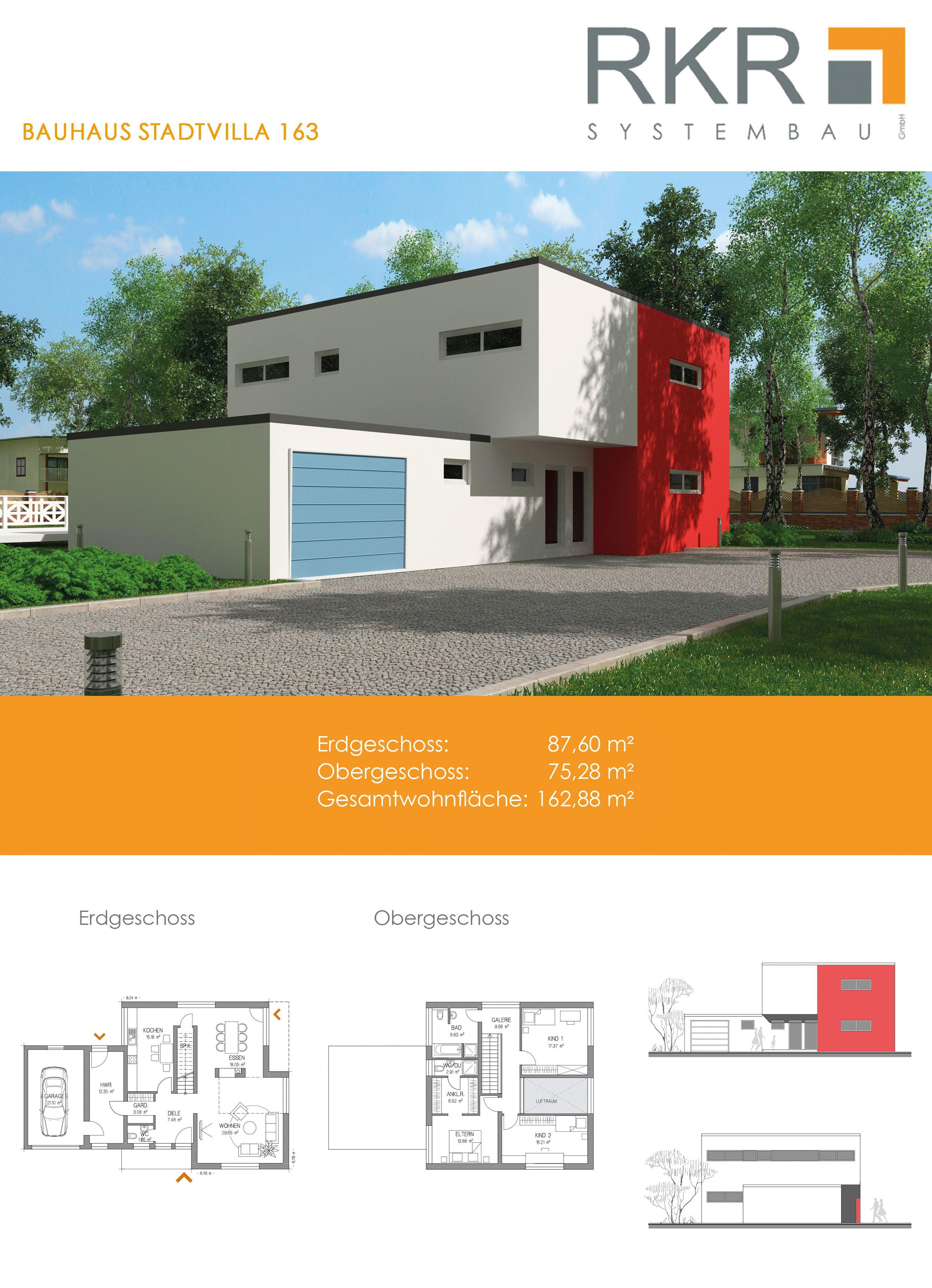 RKR Systembau GmbH präsentiert Ihnen eine Bauhaus Stadtvilla Neben dem bemerkenswert großen Wohnbereich und