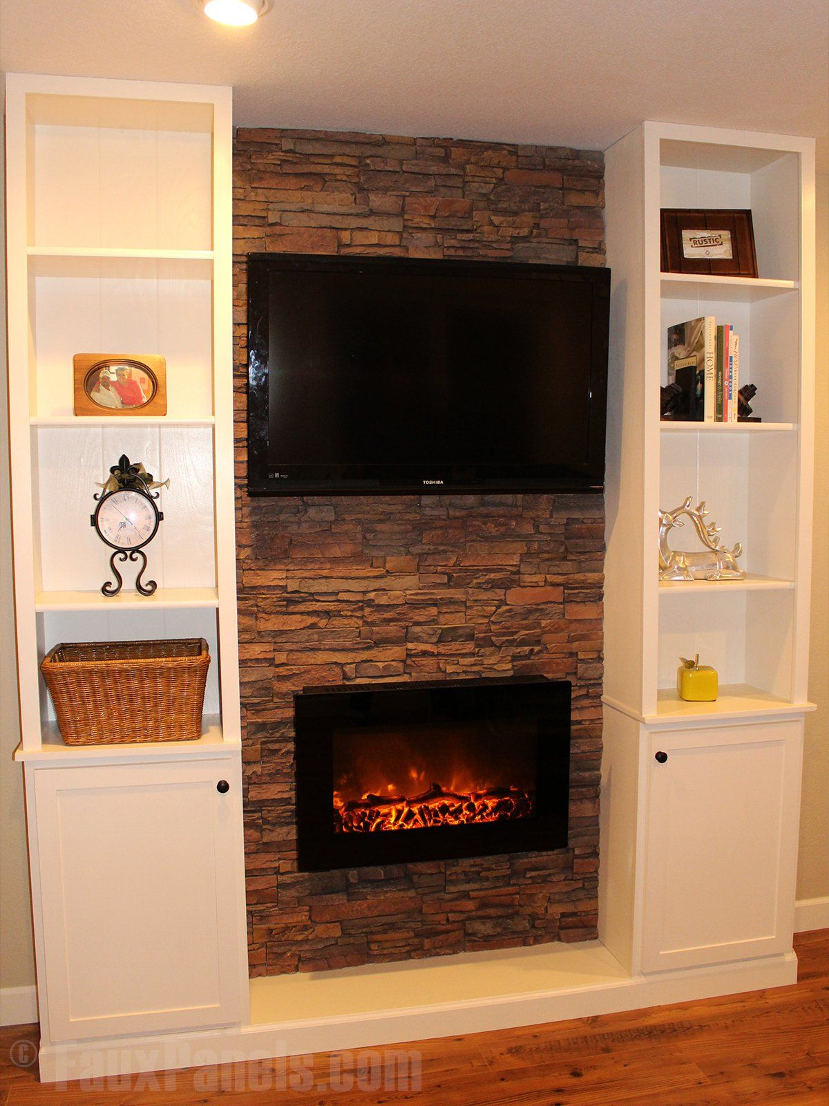 faux fireplace ideas can also include your entertainment center