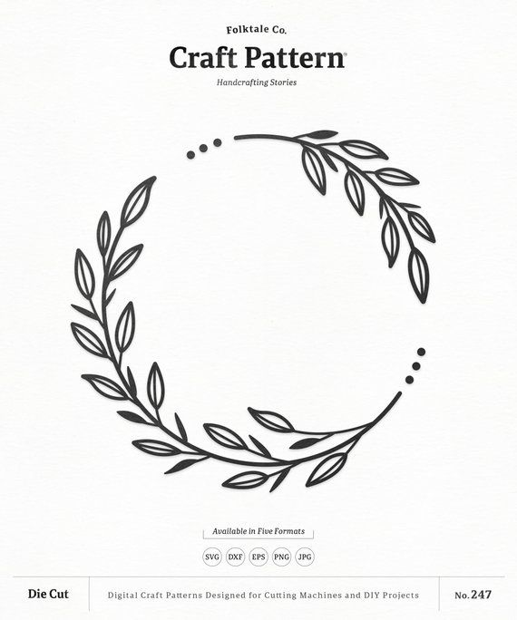 Photo of Decorative Leaf Wreath SVG Craft Pattern, Flower SVG, Wedding SVG, Floral Clipart, Silhouette Cut Files, Cricut Cut Files / FT00247