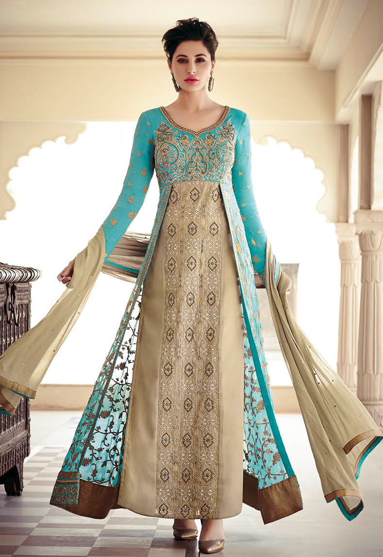 Heavenly ethnic eye catching mint and gold colour long jacket style