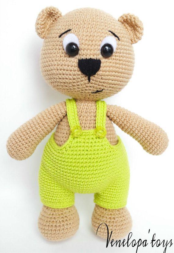 PATTERN Bear with cap crochet amigurumi