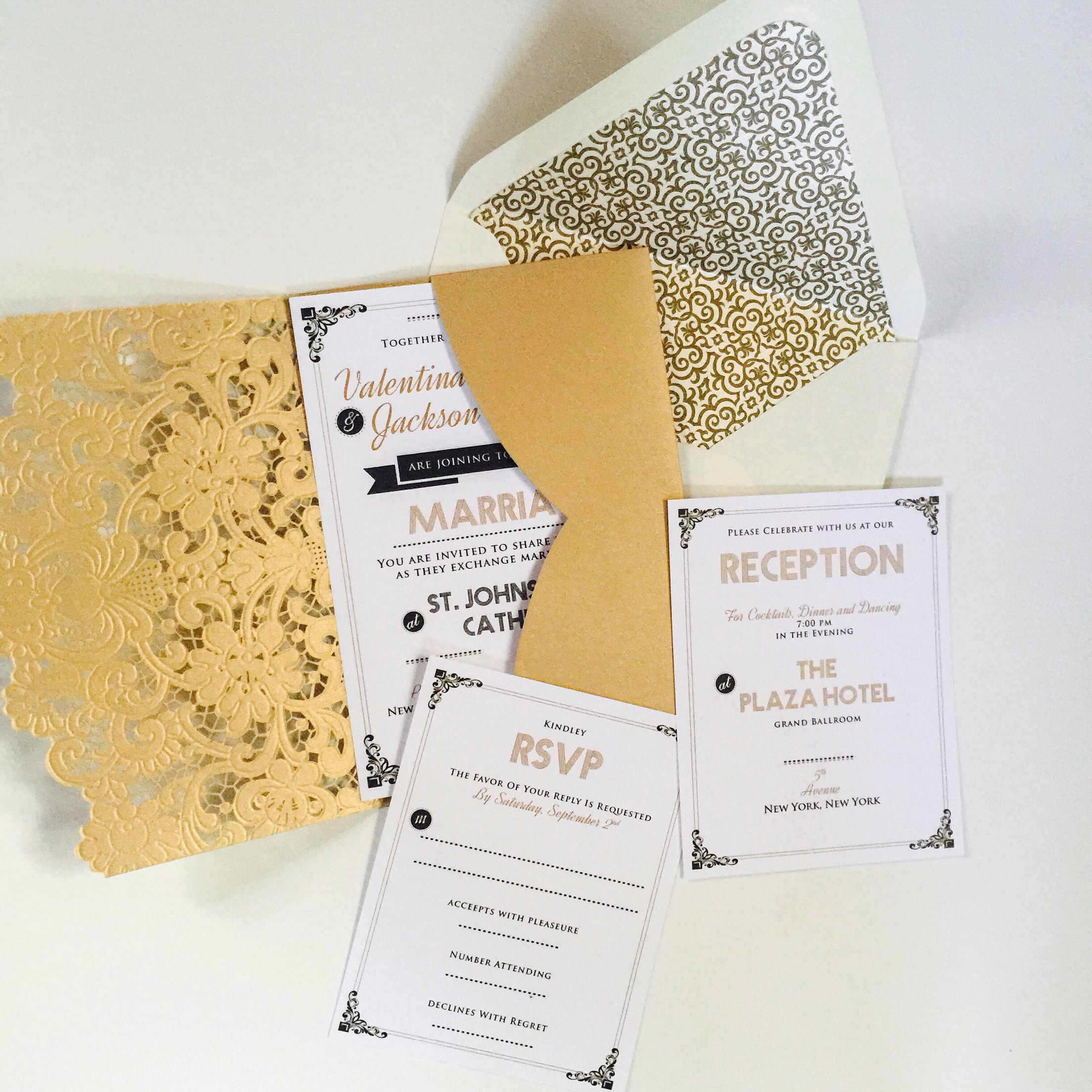 retro vintage art deco wedding invitation and rsvp response