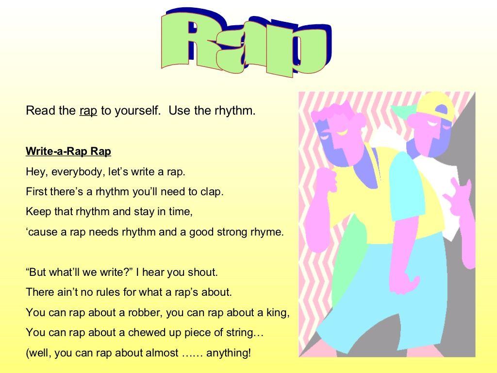 Rap Read the rap to yourself. Use the rhythm. Write-a-Rap Rap Hey