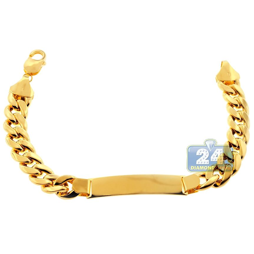 2dc6eacad49d8 10K Yellow Gold Miami Cuban Link Mens ID Bracelet 11 mm 9 Inches in ...