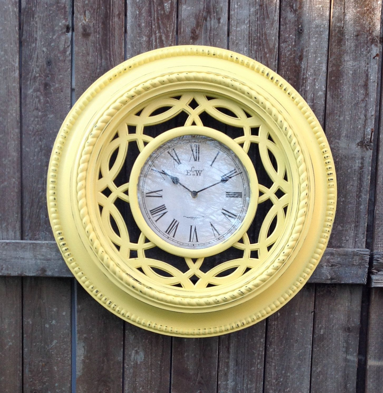 Large Yellow Textured Wall Clock 20 Cottage by ReFeatherYourNest