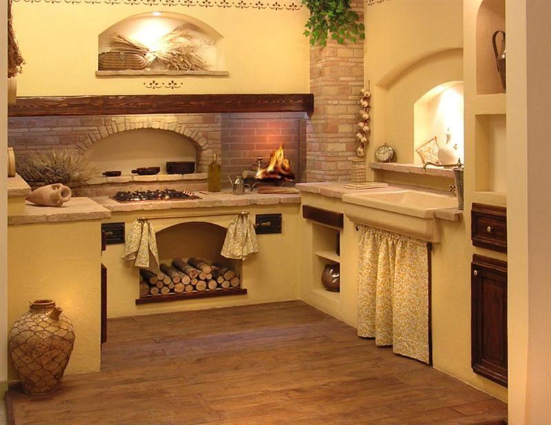 Grifo caminetti le nostre cucine in mattoni pietre for Immagini di case rustiche