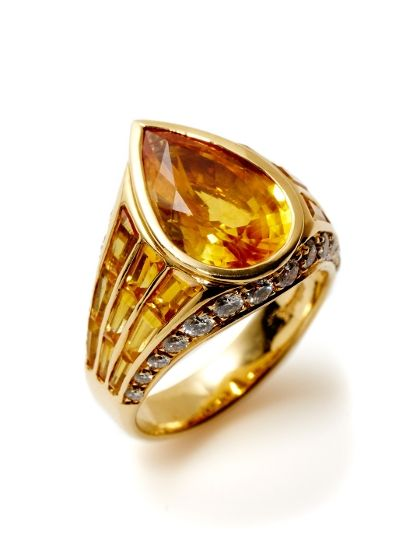 Oscar Heyman Sapphire & Diamond Overlapping Band Ring by Oscar Heyman at Gilt