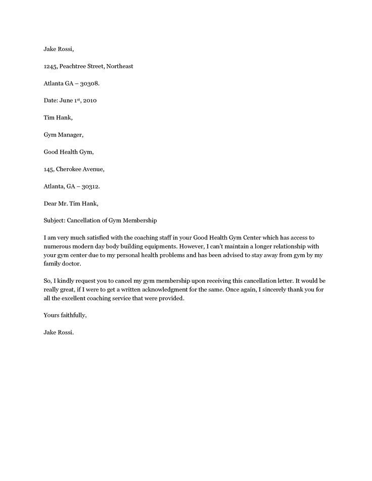 Cancel Gym Membership Letter Written Purchase Agreement