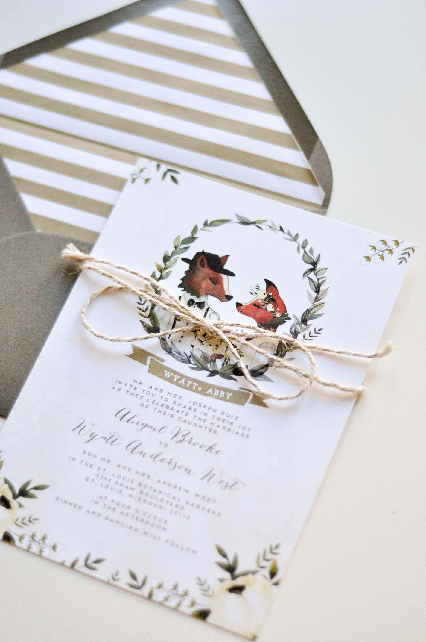 Fox wedding invitations Invitations Pinterest