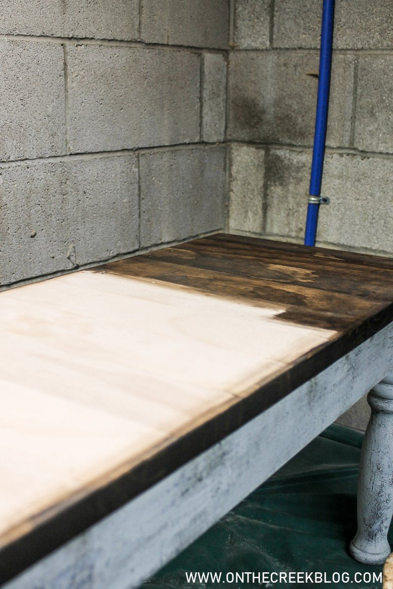 Painting Our Diy Upcycled Dining Bench In 2020 Diy Dining Dining Bench Furniture Makeover