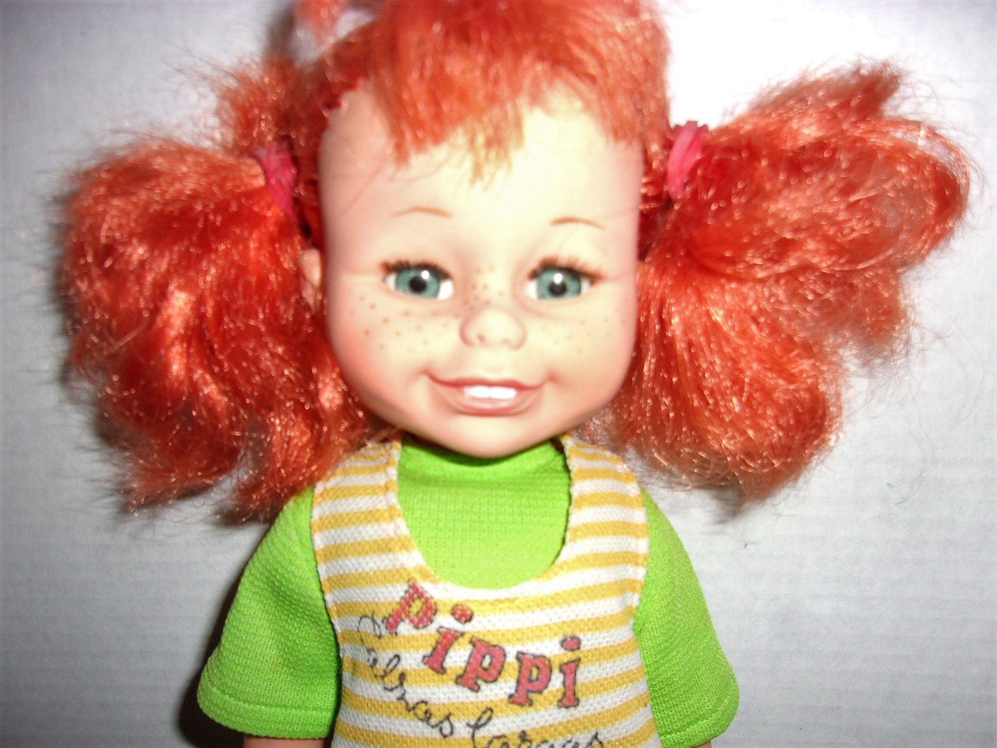 Vintage 1970 s Swedish Pippi Longstocking Doll Made in Spain