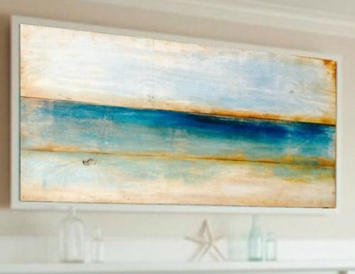 Ocean Painting On Reclaimed Wood Abstract Ocean Painting Beach Art Prints Abstract Beach Painting