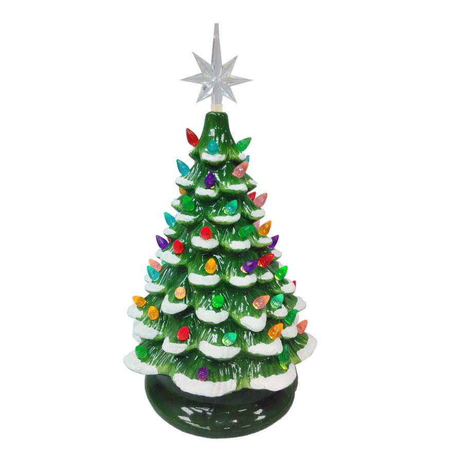 Holiday Living Lighted Ceramic Tabletop Christmas Tree with Constant ...