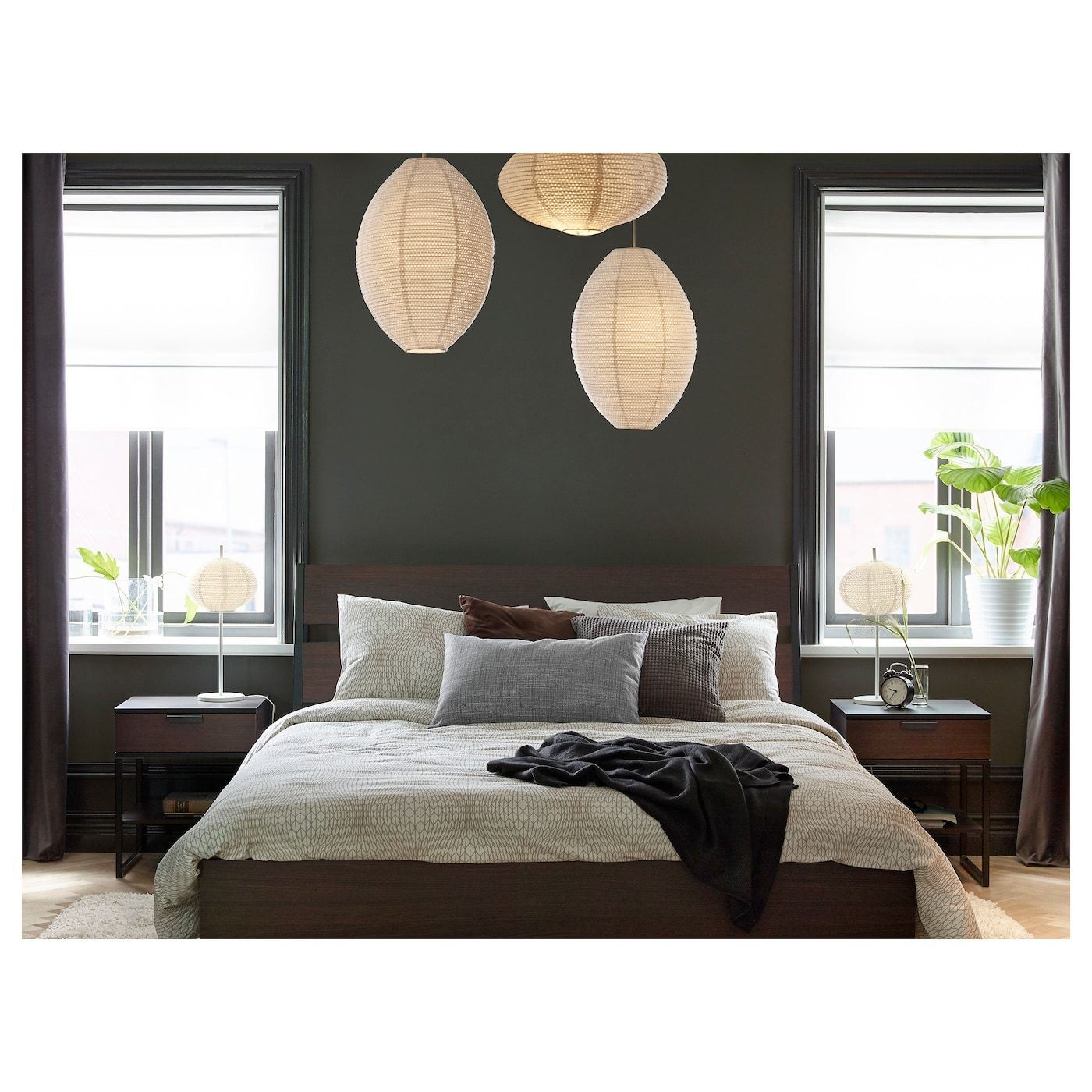 TRYSIL Bed frame, dark brown, Luröy, Queen, Mattress