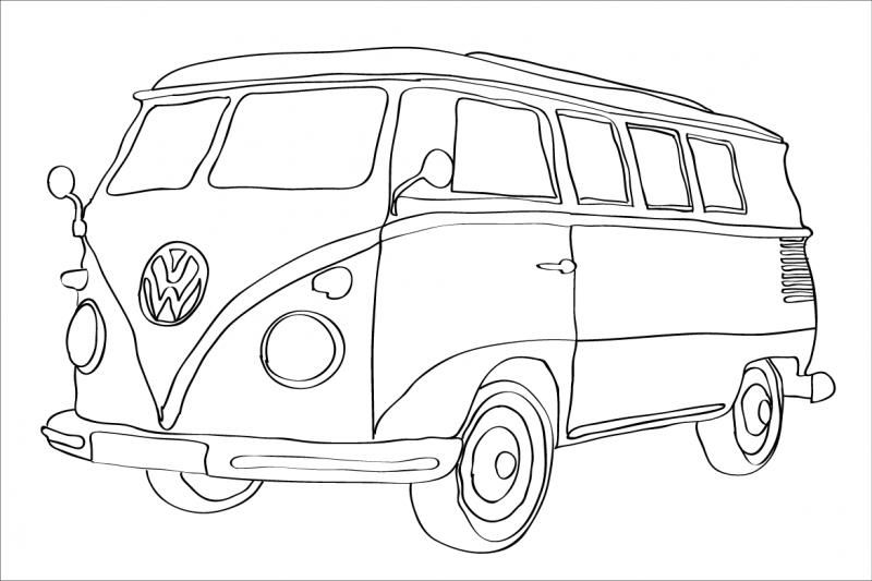 free coloring pages of combi volkswagen print poster. Black Bedroom Furniture Sets. Home Design Ideas