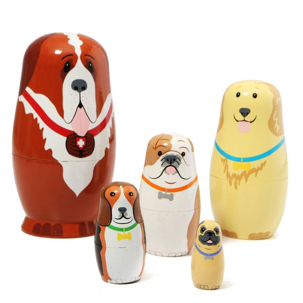 5pcs Basswood Dog Type Matryoshka Dolls Handmade Russian Nesting Kids Xmas Gifts