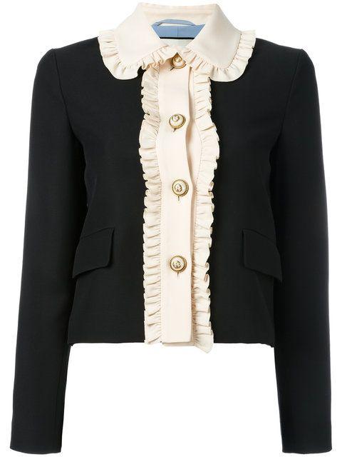 b034af0ef2 Gucci ruffle trim cropped jacket | clothes in 2019 | Silk jacket ...
