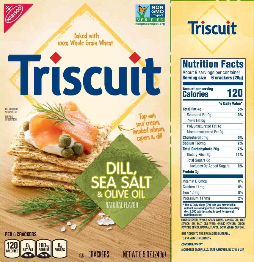 the updated nutrition facts label as seen on triscuit dill sea slat olive oil crackers image courtesy of label insight