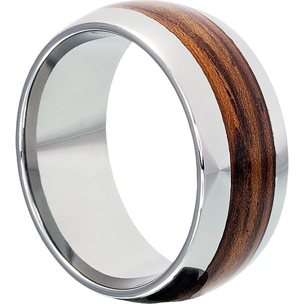 Neptune 10mm Tungsten carbide mens wedding band with redwood inlay. Genuine redwood is inlaid into a tungsten ring. Wedding Bands for couples.